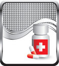 Medicine bottle on silver checkered wave ad Royalty Free Stock Photo