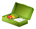 A medicine box with tablets and capsules illustration of on white background Stock Images