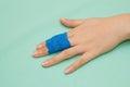 Medicine buddy bandage on finger injury Stock Photos