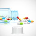 Medicine capsule in bottle illustration of transparent Royalty Free Stock Images