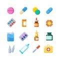 Medicine cartoon pill, drug, table, antibiotics, medication dose flat icons Royalty Free Stock Photo