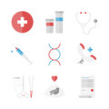 Medicine and clinical flat icons set of service surgery instruments medication pills drugs emergency hotline analysis design Stock Photography