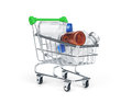 Medicine drug and pill in shopping cart Royalty Free Stock Photo