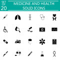 Medicine and health solid icon set medical symbols Royalty Free Stock Photo