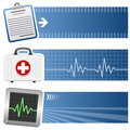 Medicine healthcare horizontal banners a collection of three medical and with a case history a first aid chest and a Royalty Free Stock Photos