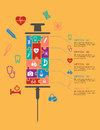 Medicine and healthcare infographic elements with text options to the right a hypodermic syringe made up of an assortment Royalty Free Stock Photography