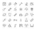 Medicine, icons, monochrome, contour drawing, flat, vector.