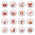 Medicine  icons set 2. Black red series. Royalty Free Stock Photo