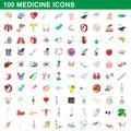 100 medicine icons set, cartoon style Royalty Free Stock Photo