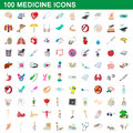 100 medicine icons set, cartoon style Royalty Free Stock Photo