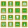 Medicine icons set green