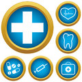 Medicine icons set new green vector illustration Stock Image