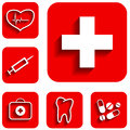 Medicine icons set new red vector illustration Stock Photos