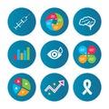 Medicine icons. Syringe, eye, brain and ribbon. Royalty Free Stock Photo