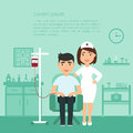 Medicine. Medical banner. Health care. A nurse or doctor at the clinic and the donor patient. Flat design.