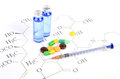 Medicine and molecular formula Royalty Free Stock Image