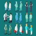 Medicine professional people icon set flat 3d isometric vector