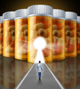 Medicine research medical concept with a scientist doctor walking towards a wall made with a group of pharmaceutical prescription Stock Image