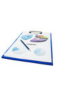 Medicine sales prediction and profit with charts colored on clipboard medicinal stock report Stock Image
