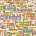 Medicine seamless pattern concept related words in tag cloud conceptual info text graphic word collage Stock Photo