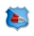 Medicine shield of approval illustration