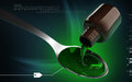Medicine with spoon digital illustration of in colour background Royalty Free Stock Photography