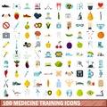 100 medicine training icons set, flat style