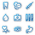 Medicine web icons, blue contour sticker series Royalty Free Stock Photo