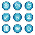 Medicine web icons, blue glossy sphere series Stock Photography