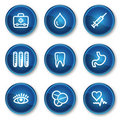 Medicine web icons set 1, blue circle buttons Stock Images