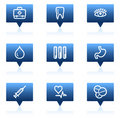 Medicine web icons set 1, blue speech bubbles Royalty Free Stock Images