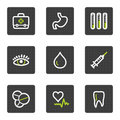 Medicine web icons set 1, grey square buttons Stock Photo