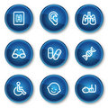 Medicine web icons set 2, blue circle buttons Stock Image