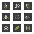 Medicine web icons set 2, grey square buttons Stock Photos