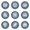 Medicine web icons set 2, mineral circle buttons Royalty Free Stock Photo