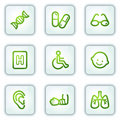 Medicine web icons set 2, white square buttons Royalty Free Stock Photo