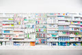 Medicines arranged in shelves at pharmacy defocused image of Royalty Free Stock Photos