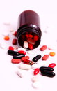 Medicines scattered as a health condition Stock Images