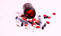 Medicines and syringes allopathic medical treatment with syringe Stock Images