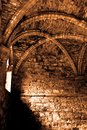 Medieval abbey interior photograph of an old with sunlight shining through a window Stock Photography