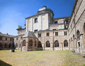 Medieval abbey yard and blue sky in gent belgium Royalty Free Stock Photo
