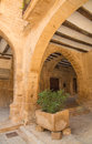 Medieval arcades in calaceite the historic city of aragon spain has beautiful around it s main square the plaza de españa Royalty Free Stock Photo