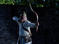 Medieval archer with a bow and arrows Royalty Free Stock Photo