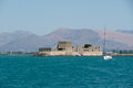 Medieval architecture burtzi the fort at the harbor entrance in nafplio greece Stock Images