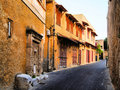 Medieval architecture of a street in the old town of rhodes greece Stock Photography