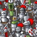 Medieval armored knights formation hand drawn seamless pattern, warriors weapons