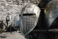 Medieval armour history knights helm close up of a Stock Photo