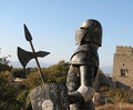 Medieval armour with shield and spear in rhodos Royalty Free Stock Photos