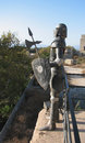 Medieval armour with shield and spear watching over city of rhodes Stock Images