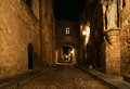 Medieval Avenue of the Knights at night, Rhodes Stock Photography